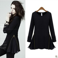 Autumn fashion o-neck knitted wool fleece zipper chiffon patchwork long-sleeve dress