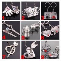 Wholesale 50pairs/lots High quality fashion Key chain pendants couples Keychain Keyfob keyring metal keychain - 0222