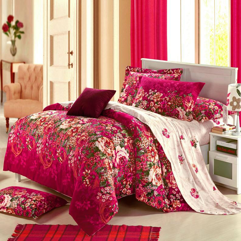 Folha de lençóis de Inverno Luxo, sarja impresso reativa escovado 4pcs conjuntos de cama com colcha, lençol e fronha, colcha(China (Mainland))