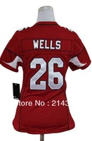 Hot Sale # 26 Chris Wells Women's Authentic Red Football Jersey Free Shipping Online 2013