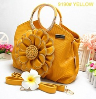 2013 New arrival flowers decoration fashion women handbag 10colors wholesale price Free shipping