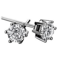 Free Shipping!!! Quality 925 Silver Round Brilliant Cut CZ Diamond Earring, Fashion 925 Silver Jewelry, Factory Price!