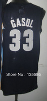 Free Shipping,Cheap Sale 2013 New Arrive Discount Promotion #33 Marc Gasol Black Blue Basketball jersey,Embroidery logos