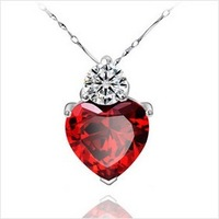Pomegranate red sparer zircon pendant 925 pure silver jewelry