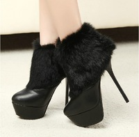 Fashion rabbit fur wool boots high-heeled shoes boots thin heels boots ankle-length women's shoes boots 14cm