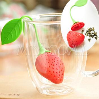 2pcs Strawberry Pear Tea Leaf Strainer Infuser Filter Bag Silicone Teacup Herb Spice