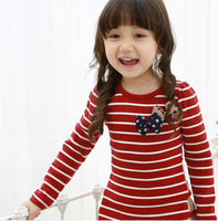 2013 autumn new children's clothing girls cotton thread bottoming shirt long sleeve striped bow dress free shipping