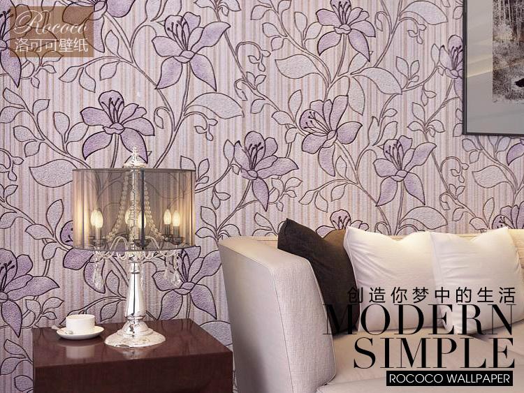 dark purple colour flower pattern 3d design background wallpaper roll