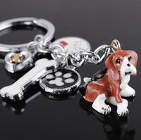 Wholesale 12PCS /lots High quality fashion pet Key chain Dogs Keyfob keyring key chain metal keychain- free shipping