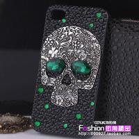 Vintage silver gemstone crystal skull phone case