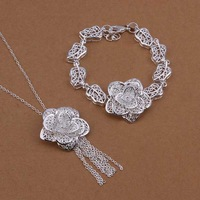 Wholesale Sterling 925 Silver Jewelry Set,925 Silver Fashion Jewelry,Flower Necklace+Bracelet Set SMTS438