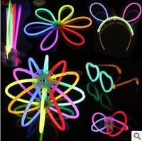 Free shipping, Neon stick hand ring bracelet hook luminous light stick silver light hairpin heart glasses flash toys
