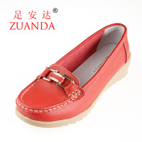 2013 autumn genuine leather single shoes women's shoes casual shoes mother shoes wedges cow muscle 9612 outsole