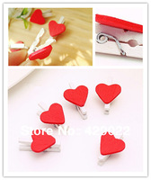 Free shipping (100 pc/lot)Love shape Mini WOOD multi-purpose Wooden Photo Paper Peg Clothespin Clothes Pin Craft Clip