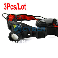 Cheap 3Pcs/Lot Highlight 3 Mode CREE LED Zoom Headlight Headlamp Torch Light Camping 1629