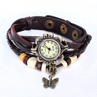Fashion 6 Color Genuine Leather Vintage bracelet Wristwatches Quartz Weave WRAP Around Lady Women Wrist Watch #3194