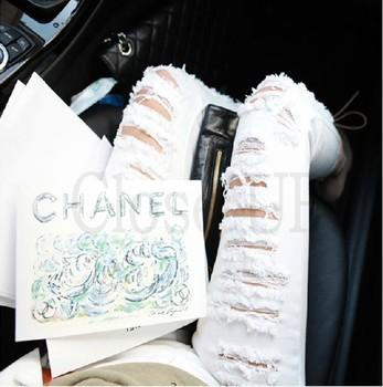 Прямая поставка! 2015 весна лето женщин рваные джинсы брюки белый узкие брюки карандаш ...