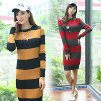Spring autumn and winter long design slim low o-neck color block stripes decoration fashion knitted sweater dress WRSC5352
