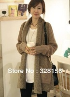 2013 Autumn Winter Knitted Long Cardigan Women New Leisure Slash neck Collar Sweater Women knitwear Overcoat Free shipping