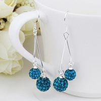 New Arrival!!Wholesale 925 Silver Earring,Double Disco Ball Bead,Crystal Shamballa Drop Earring,Fasion jewelry SBE175