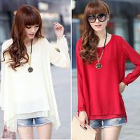 O-NECK long Loose long-sleeved chiffon shirt camisas top women