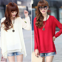 O-NECK long Loose long-sleeved chiffon shirt camisas top women