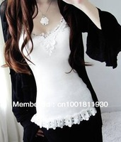 2013 hot Woman's clothes Vests Lady's T-shirt sexy racer Camisole hollow out lace vest cotton tank tops Free & Drop Shipping