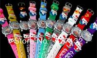 Wholesale 10pcs Hello Kitty 3D Cartoon Children Kids Boys Girls Students Quartz Wrist Watches