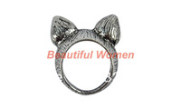 10pcs/lot Free Shipping Silver Vintage Retro Animal Cat Ear Finger Rings Fashion Ring 10376