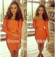 New High Quality Women HL Elastic Knitted Bandage Off the shoulder Orange Long Sleeve Bandage Celebrity Party Evening Dresses