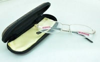 Gold Half Optical Fashion Metal Frame Reading Glasses with English Words Case,Power +1.00 to +4.00 Accept Mixed order