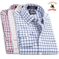 Galeoid u-shark men's clothing spring and autumn male Oxford silk cloth long-sleeve check shirt