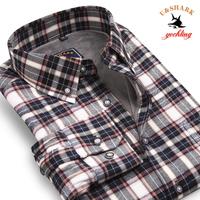 Galeoid u-shark 2013 men's casual clothing male thermal shirt male long-sleeve plus velvet thickening check shirt