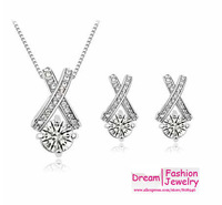 Factory Wholesales Christmas gift 18K Gold Pltate Zircon Rhinstones X Crossing  Necklace Earrings fashion Jewelry Sets G004