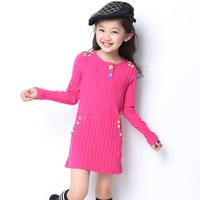 Female child 2013 autumn one-piece dress children's clothing long-sleeve letter long sweater basic clothing