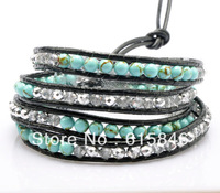Aliexpress HOT SELL New Style Hand Wrap Leather Bracelets, Wholesale Turquoise Crysta Beads Leather Wrap Bracelets Jewelry CL043