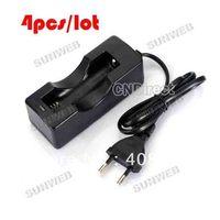 4PCS/LOT New 18650 Charger Li-ion Rechargeable battery charger EU Black AC Portable Charger EU plug TK0027