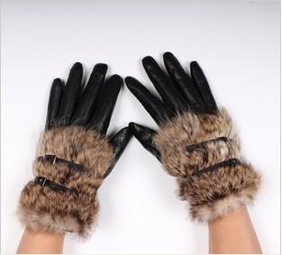 Faux Rabbit Натуральная кожа Gloves Женщины Засов Модный Короткий Design Женщины's ...
