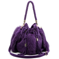2013 pure rabbit fur pumpkin bucket fur bag leather bag purple one shoulder cross-body women's handbag tassel bag