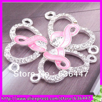 50PCS Pink ribbon breast cancer awareness silver plated crystal rhinestone bracelet connector charms 30x16mm