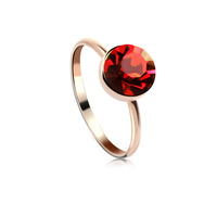 Trendy 18k gold plated ring made with Swarovski Elements 40056 free shipping color red