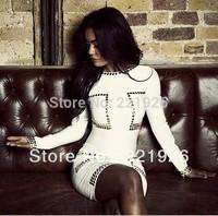 Free shipping 2013 lotus daphne, white long sleeve bandage dress Kim with manufacturer wholesale