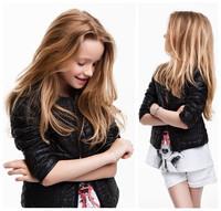 Hot selling  Retail High Quality Children Clothing Baby Girls PU Leather Jackets Full Zip Designer Plaid Kids Black Coat