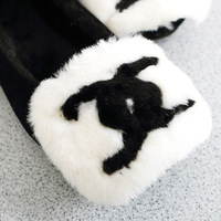 Artificial wool cartoon panda head cotton plus velvet suit shoes flat round toe comfortable single shoes boat shoes women's