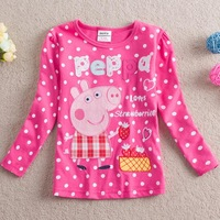 5Pcs/lotPepe pig peppa pig baby girls T-shirt children tshirts kids wear chidren clothing 100% Cotton Cartoon clothes F4245