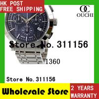 Free Shipping top luxury brand blueface Mens Classic Silver full Steel Chronograph men quartz Watch BU1360 sports wrist watches