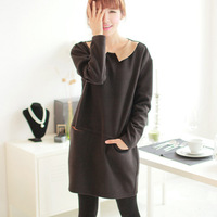 2013 women's elegant black long-sleeve peter pan collar one-piece dress luxury  Free shipping