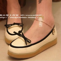Shoes small bow platform round toe black curve solid color women's shoes single shoes