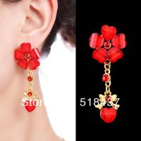 earrings bride accessories red earrings cheongsam  wedding supplies chinese style costume drop earring