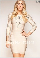 Free Shipping Celeb 2013 Women Sexy Hollow Out Backless Sheath Bodycon Elastic Bandage Dress Long Sleeve Evening Party Dresses